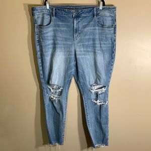 American Eagle Blue Distressed Jeggings